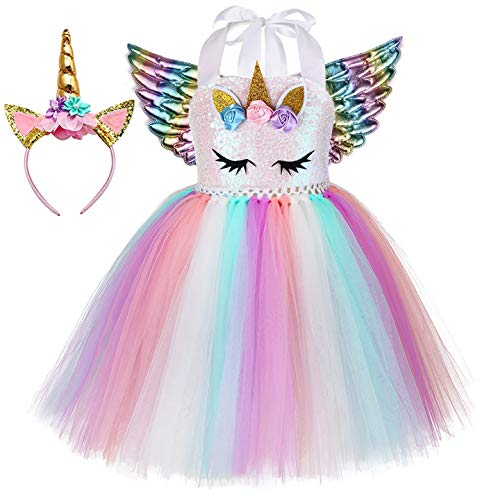 Tutu Dreams Halloween Unicorn Costumes for Girls with Wings Headband Tutu Outfit Unicorn Party Favors Supplies (Unicorn dress+rainbow wings, 1-2T)