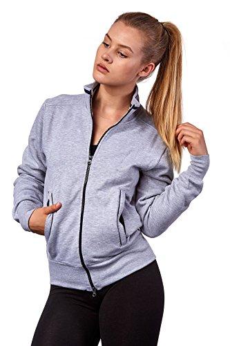 Happy Clothing Damen Sweatjacke mit Reißverschluss und Kragen ohne Kapuze im sportlichen Design, Elegante Jacke aus Baumwolle für Sport und Freizeit, Größe:M, Farbe:Grau meliert