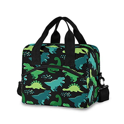 Cute Dinosaur Lunch Bag with Shoulder Strap for Women Men Insulated Lunch Box Tote Bags Water-resistant Cooler Bag for Office Work Picnic Beach (11x7x9 Inch)