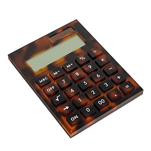 E&O Acrylic Calculator,Solar Power,12 Digits LCD Display,Modern Elegant Desk Accessory,Office Home Electronics,Business Present Ideas (Tortoiseshell Red)