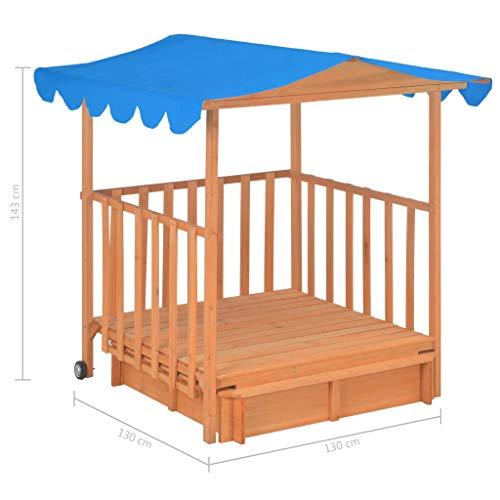 Tidyard Spielhaus Outdoor für Kinder Kinderspielhaus mit Sandkasten Gartenhaus Kinder ab 3 Jahren Kinderhaus Garden Kindergartenhaus Holz Gartenspiel Draußen, 130x130x143 cm