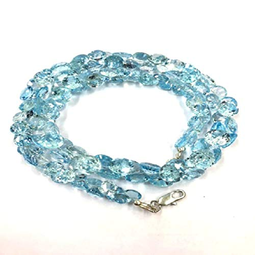 24 inch long round shape faceted cut natural blue topaz 7-9 mm beads necklace with 925 sterling silver clasp for women, girls unisex