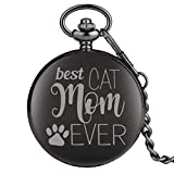 Reloj Bolsillo Negro Best Cat Mom Ever Series niños Relojes Bolsillo Cuarzo Mediano clásico Mujer...