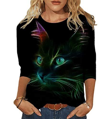 Tomwell Damen Langarmshirt Mit Katzenmotiv Tierdruck Oberteile Herbst Winter O-Neck Bluse Casual Loose Pullover Sweatshirt Hemd Stil D M