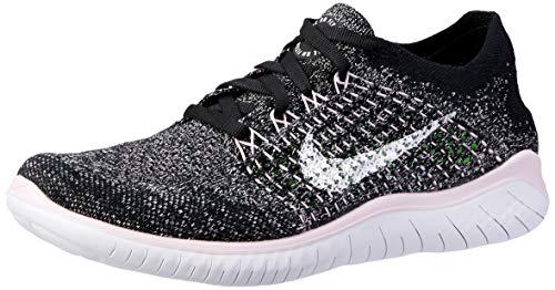 Nike Women's WMNS Free Rn Flyknit 2018 Track & Field Shoes, Multicolour (Black/White/Pink Foam 007), 9.5 UK