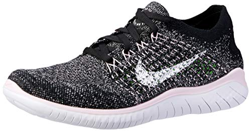 Nike Free RN Flyknit 2018 Women's Running Shoe Black/White-Pink Foam 8.5