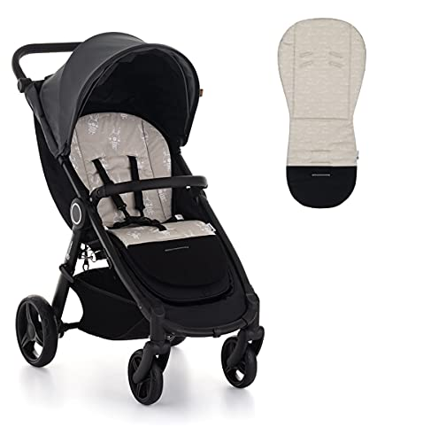 Petite&Mars Foamy memory foam liner * Sitzeinlage * Universal Sitzauflage für Kinderwagen, Buggy * Anti-Stoß * Baumwolle (Beige Whale)