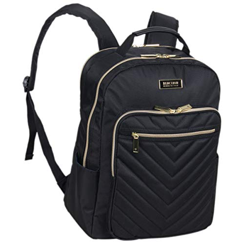 Kenneth Cole Reaction Women's Chelsea Backpack Chevron Quilted 15-Inch Laptop & Tablet Fashion Bookbag Daypack, Black, One Size