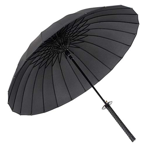 Zyj stores Kreative Regenschirm Stiel Großen Wetter Regenschirm Sonne Regen Gerade Umbrella-Handbuch öffnen Erweitert Regenschirm (Color : Black, Größe : 24K)