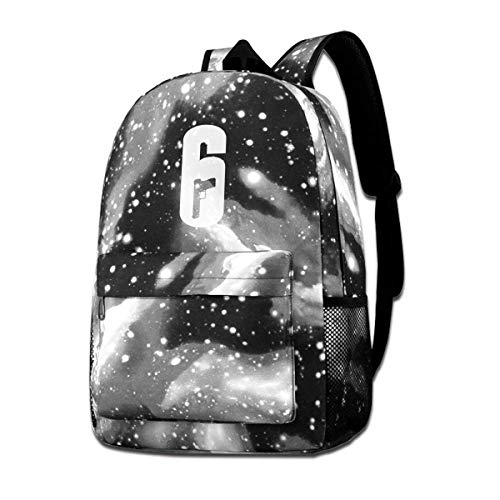 Rogerds Rainbow Six Siege R6S Logo Fashion Sac à Dos Starry Sky Backpacks Travel Daypack Bags for Teens Girls Boys