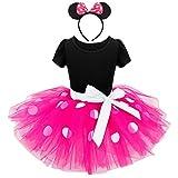 Lito Angels Disfraz Minnie Mouse para Niña con Orejas de Ratón Aro de Pelo, Vestido de Tul Falda Tutu con Lunares, Talla 5-6 años, Rosa Caliente