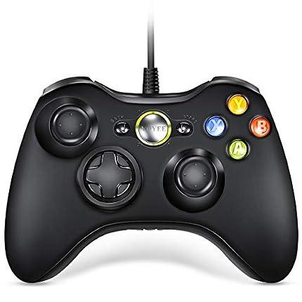VOYEE Mando para Microsoft Xbox 360, con cable, compatible con Xbox 360 Slim/PC Windows 10, 8 y 7 (negro)