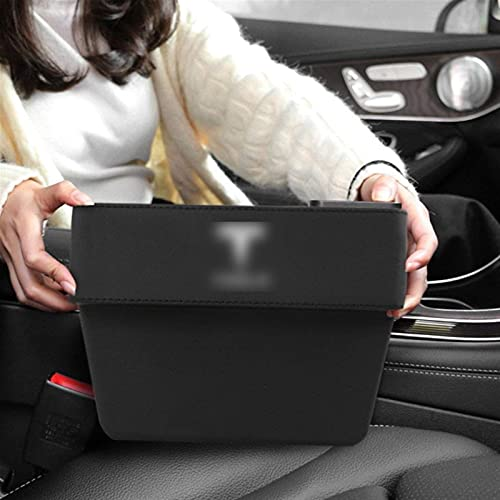 YNHNI 1 organizador de piel sintética para Tesla Modelo 3 Modelo X Modelo S Caja de almacenamiento de hendiduras para asientos de coche, accesorios para automóviles (color: negro)