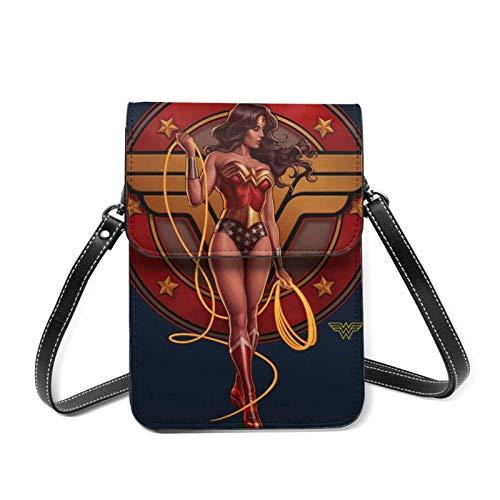 XCNGG Monedero pequeño para teléfono celular W-onder Wom-an Lightweight Leather Phone Purse, Women Multicolor Handbag Small Crossbody Bag Mini Cell Phone Pouch Shoulder Bag.with Adjustable Str