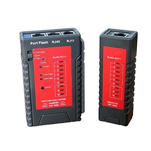 YEZIO Probador de Cables NF-469 Cable de Red Tester Herramienta de Prueba de Cables Ethernet LAN RJ45 RJ11 Tester por Cable Teléfono con Cable