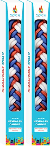 The Dreidel Company Havdalah Candle Handcrafted Havdala Candle (Multi Color Red/White/Blue, 2-Pack)