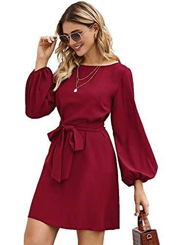 DIDK Damen Elegant Kleider U-Boot Ausschnitt Langarm Blasenärmel Shortkleid Freizeitkleid mit Gürtel Einfarbig Locker Minikleid Blusenkleid Bordeaux S