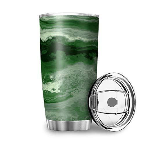 Taza de viaje de acero inoxidable, con tapa transparente, 600 ml, aislada al vacío, resistente a las manchas, con tapa transparente