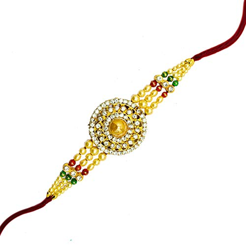 WhopperIndia Set of 4 Four Diamond in square Shape Traditional Rakshabandhan Rakhee Bracelet Color and Design May Vary
