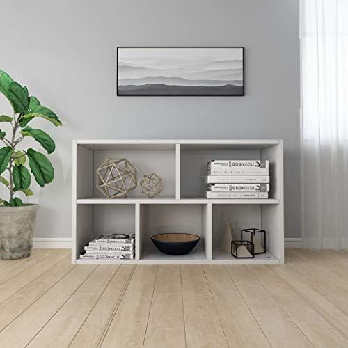 Tidyard Estantería/Aparador aglomerado Blanco con Brillo 45x25x80 cm