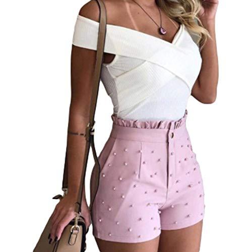 Pantalones Cortos para Mujer Color sólido Sexy Streetwear Trend Cintura Alta Micro Plisado Casual Todo-fósforo Pantalones Cortos Rectos básicos M