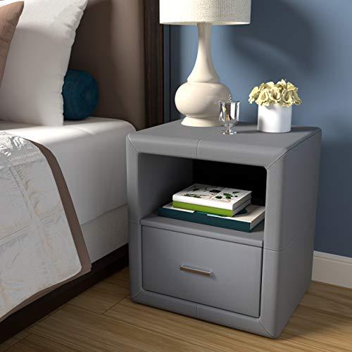 Boyd Sleep - Mueble de recámara contemporáneo Lombardi tapizado con un Solo cajón y Estante Abierto, Piel sintética, Color Gris