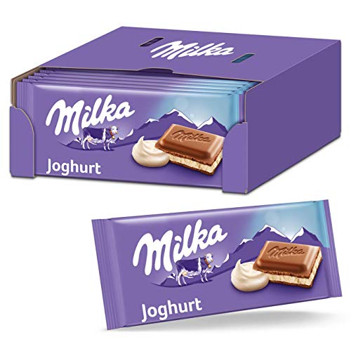 Milka Joghurt Schokolade 23 x 100g, Zartschmelzende Schokoladentafel mit cremiger Joghurt-Füllung