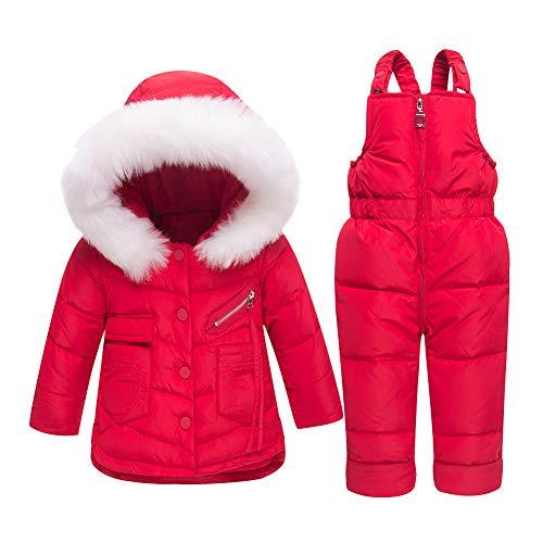 LSERVER Bébés Filles Garçons Manteau de Duvet Hiver Combinaison de Neige Ski Doudoune Parka à Capuche Rembourré avec Salopette Coupe-Vent Épais 2PCS 0-3 Ans, Rouge, 2 Ans / 90