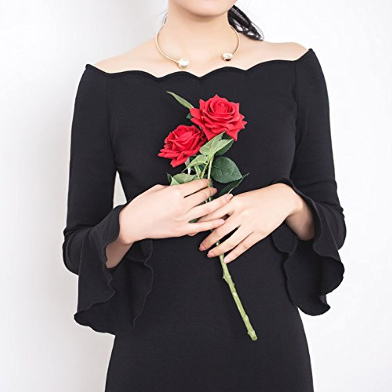 GAOLIM Autumn Collar Led The Wave Package Hip Dress Skirt 1874 Long Sleeves, L, Black Now