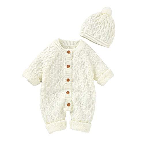 Neugeborenes Baby Strick Strampler Hut Set Säugling Schneeanzug Bodysuit Overalls für Jungen Mädchen(0-3 Monate, Weiß)