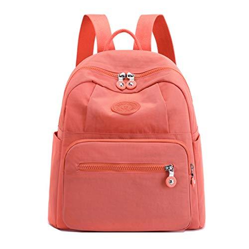 Mochila De Nailon Para Mujer Bolso De Hombro Ligero Bolso De Compras Bolso Escolar(Size:27 * 13 * 32cm,Color:naranja)