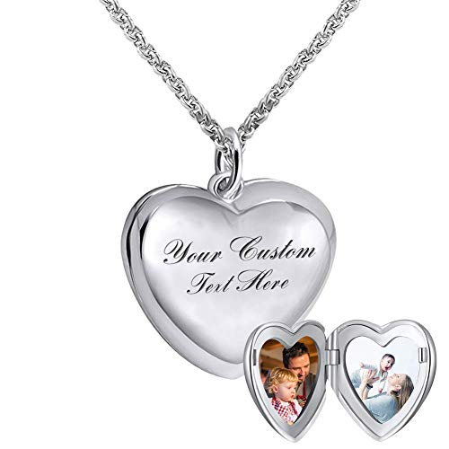 925 Sterling Silver Personalized Photo Heart Locket Necklace Forever in My Heart Custom Add Your Text That Holds Pictures for Women Men Kids(Heart-Shape)