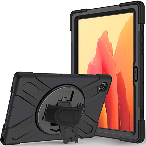 Tablet Case for Samsung Galaxy Tab A7 10.4 Inch SM-T500 / T505 , Durable Shockproof Case with 360 Stand, Pen Holder, Hand Strap and Shoulder Strap(Black)