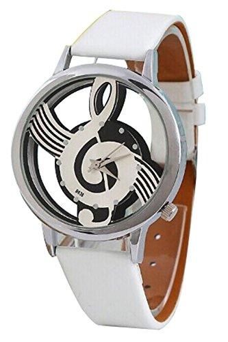 Reloj de Pulsera de Cuarzo de Cuero Sintetico - SODIAL(R) Reloj de Pulsera de Cuarzo de Esqueleto Hueco de Musica de Correa de Cuero Sintetico para Hombre y Mujer Blanco