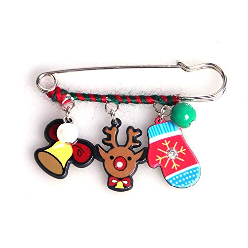 Pulabo Cute Christmas Style Brooch Pins Brooch Christmas Tree Brooch Snowman Brooch, 5 Sturdy and Cost-Effective