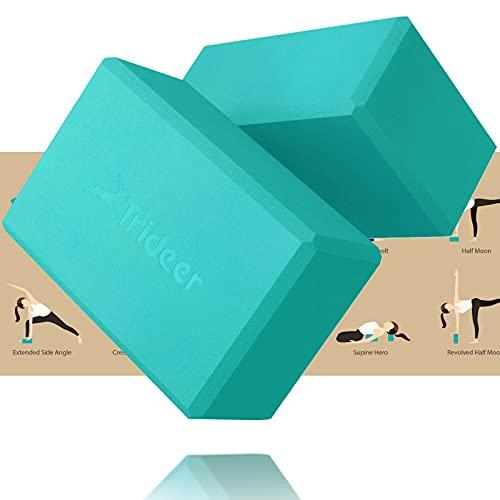 "Trideer Yoga Blocks 2 Pack - Premium EVA Foam with Free Guide, Supportive, Lightweight & Odor Resistant, Yoga Essentials for Yogi & Yogini, 9""x6""x4"""