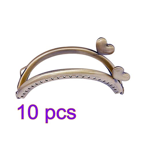 SUPVOX 10psc 8.5cm Marco Monedero Cierre Semicírculo Con Corazón Metal Cierre De Boquilla Retro Para Fabricación De Monederos