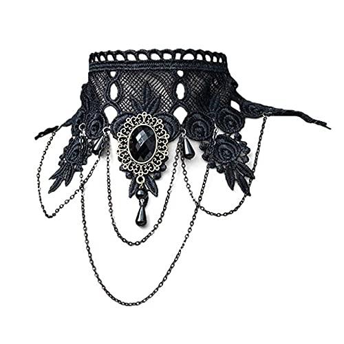 XKMY Chal falso collar de mujer estilo gótico falso collar negro collar collar cadena bordado encaje boda punk vintage borla cristal chal falso collar
