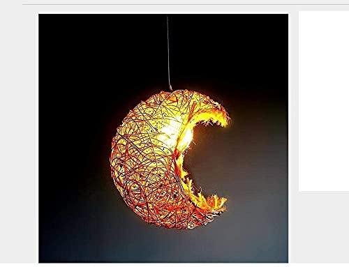 MUZIDP Luces de araña de ratán Botánica Personalidad Creativa Café Restaurante Dippet Dormitorios El Lounge Veranda es obvio, y la Luna Lamandera, 3