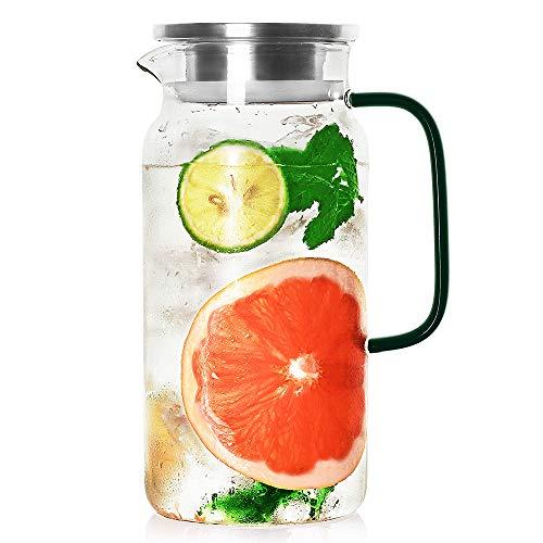 Luxu - Jarra de vidrio con tapa de acero inoxidable, resistente al calor, para agua caliente/fría y té helado, jarra de vidrio para bebidas calientes y frías, con mango verde...