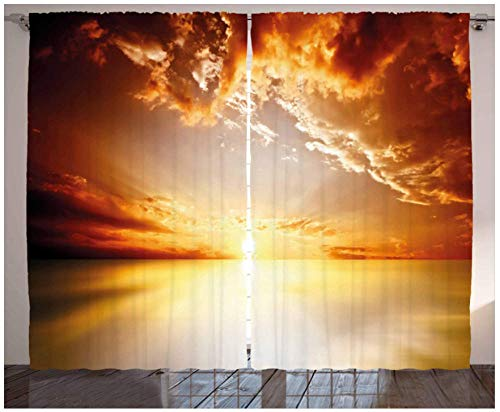 MEKVF Wärmedämmvorhang Sonnenuntergangslandschaft Ösen Bedruckte Vorhänge Bleistiftfalte Polyester Mikrofaser Kinderküche Wohnzimmer Schlafzimmer,2 Panel 140x160cm(Wxl)