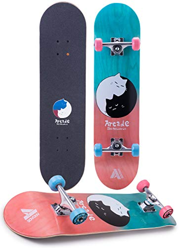 """Arcade Pro Skate Board 31"""" Standard Complete Skateboard Professional Complete Board w/Concave - Skateboards Great for Beginners, Adults, Teens, Youth & Kids (Kitty Karma)"""