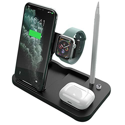 ASHLGQB Cargador inalámbrico Multifuncional de 15w retráctil y Plegable 4 en 1 Adecuado para iPhone 12 Mini Pro MAX 11 Pro MAX y para Apple Watch SE 6 5 4 3 AirPods Pro Black