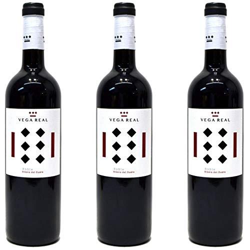 Vega Real Roble Vino Tinto Roble Joven Con Barrica - 3 botellas x 750ml - total: 2250 ml