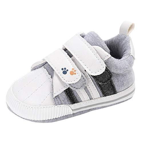 PinkLu Velcro Zapatos de Algodon Bebé recién Nacido Niñas bebés niños Zapatos de Cuna Suela Blanda Antideslizante Zapatillas Lona