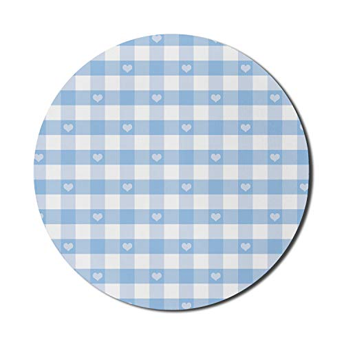 Ambesonne Checkered Mouse Pad for Computers, Gingham Motif with Little Hearts Pastel Blue Shower Theme, Round Non-Slip Thick Rubber Modern Gaming Mousepad, 8' Round, Pale Blue White