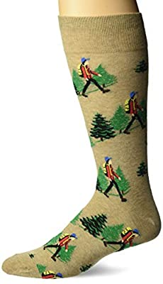 Hot Sox Men's The Outdoors Novelty Crew Socks, HIKER (hemp), Shoe Size: 6-12