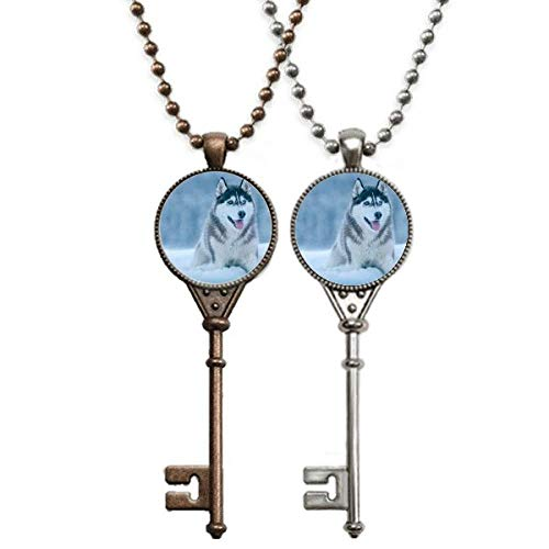 Hunde-Halskette mit Anhänger, Motiv: Schnee-Husky, Schmuck, Paar-Dekoration