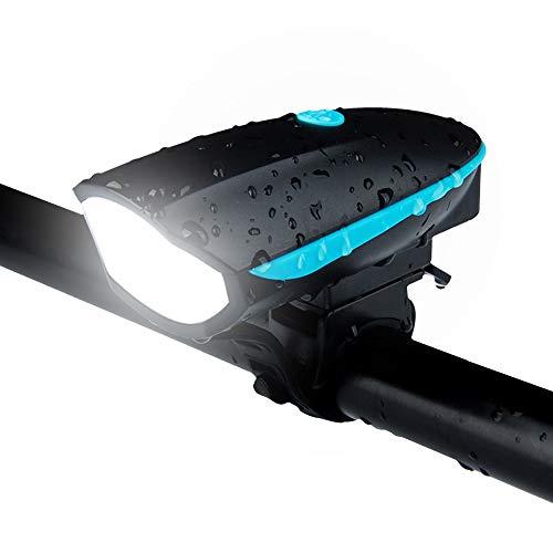 Autofiets met ledverlichting, oplaadbaar, met accessoires voor claxon, niet-verblindend nachtlampje, 250 lumen, mountainbike-licht, geschikt voor alle soorten terrein en klimaatregeling. random color