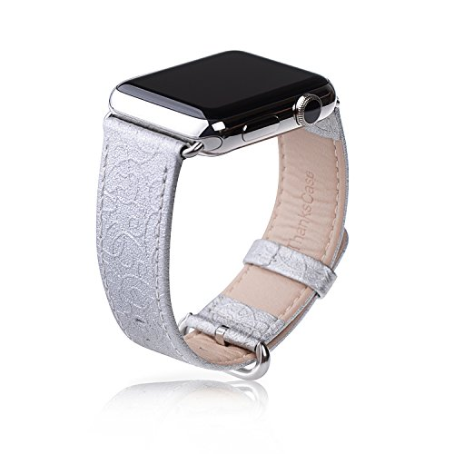 Thankscase Band for Apple Watch 40mm 38mm, Genuine Leather Replacement Wristband, Top Quality Metal Clasp for iWatch Series 4 (40mm) Series 3 Series 2 Series 1 (38mm) Sport and Edition (Silver)